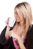 Woman side view mug drinking Stock Photos