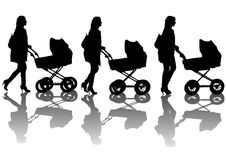 Woman with a sidecar. Vector drawing women with prams. Silhouette on white background Stock Photography