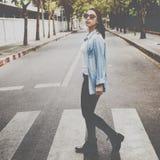 Woman Sightseeing Walking Crosswalk Lifestyle Concept Stock Photography