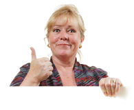 Woman with sign thumbs up Stock Photos