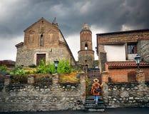 Woman in Signagi town in Georgia Stock Images