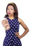 Woman Signaling to Stop Royalty Free Stock Photo