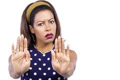 Woman Signaling to Stop Stock Photo