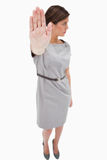Woman signals stop Royalty Free Stock Photo