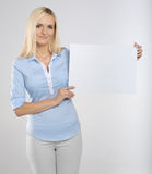 Woman with signboard Stock Photo