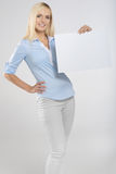 Woman with signboard. Woman portrait with blank white signboard Stock Image