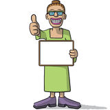 Woman with a signboard Stock Photography