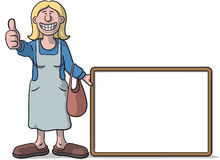 Woman with a signboard Stock Images