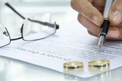 Woman signing divorce agreement with ring. Woman signing  divorce agreement with ring Royalty Free Stock Image