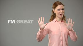 Woman signing nice to meet you asl teacher showing words in sign language lesson. Stock footage stock video footage
