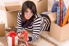 Woman siiting on floor Stock Image