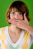 Woman with silence gesture Stock Photography