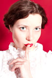 Woman with silence gesture Royalty Free Stock Photos