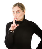 Woman silence gesture Royalty Free Stock Photos