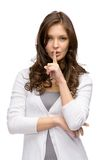 Woman silence gesturing Stock Photo