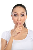 Woman with silence sign Royalty Free Stock Images