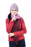 Woman With Silence Sign Stock Image