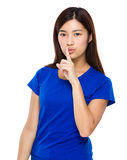 Woman with silent sign Royalty Free Stock Image