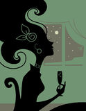 Woman silhouette. In the room with a cocktail Stock Photo