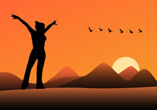 Woman silhouette. Silhouette of woman on the sunset stock illustration