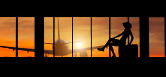 Woman silhouette at Airport - Concept of travel Stock Images