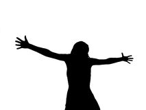 Woman Silhouette with Arms Royalty Free Stock Photo