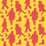 Woman Silhouette Autumn Retro Fashion Seamless Pattern.   Stock Image