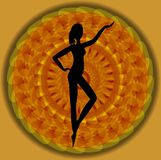 Woman silhouette, black standing figure on orange mandala background. Stock Photos