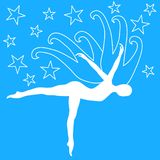 Butterfly Woman Flying on the Stars. A woman silhouette with butterfly or bird wings flying or dancing on a blue sky with stars Royalty Free Stock Photography