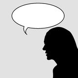 Woman silhouette with chat bubbles Stock Images