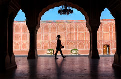 Woman silhouette in City Palace Royalty Free Stock Image