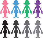 Woman Silhouette Colors Stock Photos