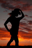 Woman silhouette cowgirl Stock Photo