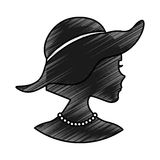 Woman silhouette with elegant hat Royalty Free Stock Photography