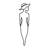 Woman silhouette with elegant hat. Vector illustration design Stock Photo