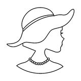 Woman silhouette with elegant hat. Vector illustration design Stock Photography