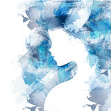 Woman silhouette face. Digital art women illustration. Watercolor technique and blue. Woman silhouette plus an abstract. Water color. long lush curly hair Stock Image