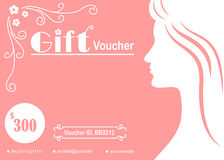Woman silhouette feminine gift voucher. Design Royalty Free Stock Photo