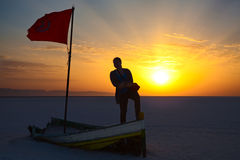 Woman silhouette with flag of Tunisia Stock Photography