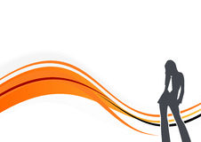 Woman Silhouette Graphic. Silhouette of a woman with a tie Stock Photography