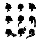 Woman silhouette with hair styling Royalty Free Stock Photos