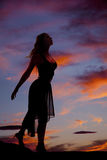 Woman silhouette hand back Royalty Free Stock Images