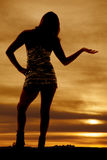 Woman silhouette hand out shiny dress Royalty Free Stock Photography