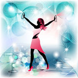 Woman silhouette housekeeper in spraying movement. And clean background Stock Photography