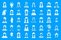 Woman silhouette icon blue set vector. Woman silhouette icon set. Simple set of woman silhouette vector icons for web design  on blue background Royalty Free Stock Photography