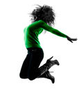 Woman silhouette isolated jumping happy Royalty Free Stock Images