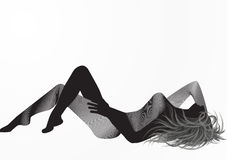 Woman silhouette. A woman silhouette, laying down, in an interesting vision with a side of the body compound of lines stripes and the other side is pure black Royalty Free Stock Photos