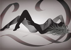 Woman silhouette with a luxurious background. A woman silhouette, laying down, in an interesting vision with a side of the body compound of lines stripes and the Stock Images