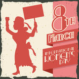 Woman Silhouette Marching in Women's Day Retro Poster, Vector Illustration royalty free stock photos