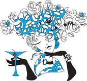 Woman silhouette with martini Stock Images